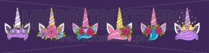 Beautiful unicorn crowns set - Vector illustrations for everyone | Microstocker.Pro