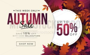 Big sale banner with colorful autumn leaves - Vector illustrations for everyone | Microstocker.Pro