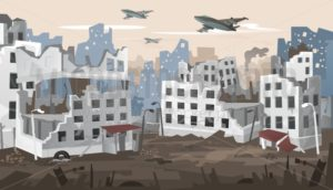 Bombed city suffered from intense warfare banner - Vector illustrations for everyone | Microstocker.Pro