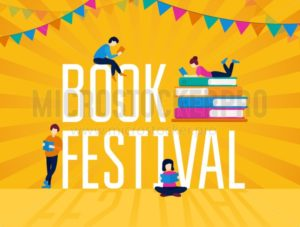 Book festival colorful poster with festive garland - Vector illustrations for everyone | Microstocker.Pro