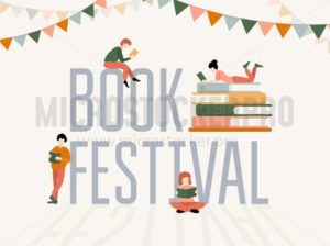 Book festival colorful poster with stacks of books and people characters - Vector illustrations for everyone | Microstocker.Pro