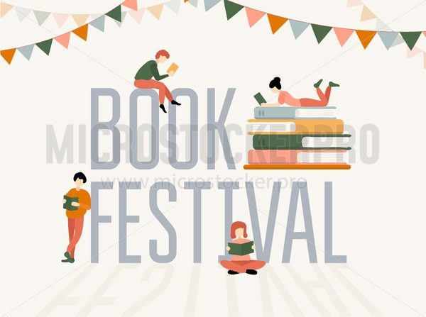 Book festival colorful poster with stacks of books and people characters - Vector illustrations for everyone   Microstocker.Pro