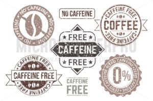 Caffeine free tags and grunge labels set - Vector illustrations for everyone | Microstocker.Pro