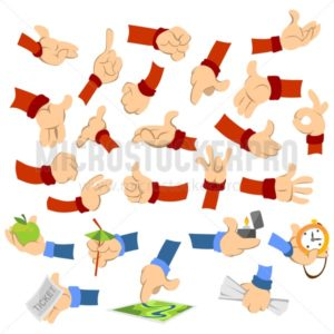 Cartoon hands of different poses performing actions set - Vector illustrations for everyone | Microstocker.Pro