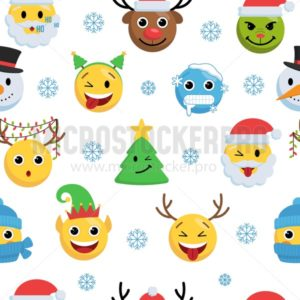 Christmas faces with different emotions endless texture - Vector illustrations for everyone | Microstocker.Pro