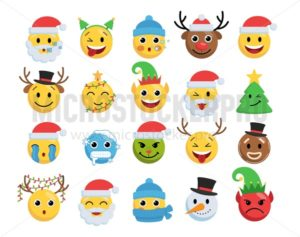 Christmas smile faces set - Vector illustrations for everyone | Microstocker.Pro