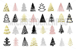 Christmas tree colorful hand drawn set on white - Vector illustrations for everyone | Microstocker.Pro