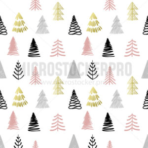 Christmas tree in scandinavian style seamless pattern - Vector illustrations for everyone | Microstocker.Pro