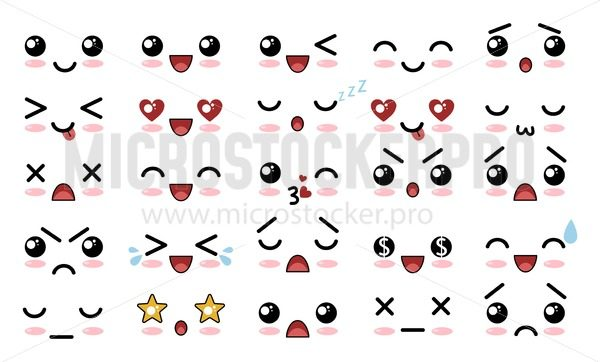 Collection of various cartoons characters and faces set - Vector illustrations for everyone   Microstocker.Pro