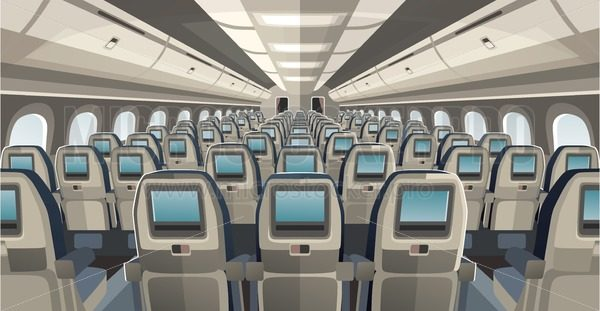 Comfortable and cozy airplane salon seats - Vector illustrations for everyone | Microstocker.Pro
