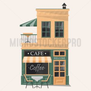 Comfortable and cozy modern cafe building facade - Vector illustrations for everyone | Microstocker.Pro