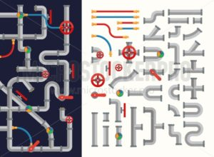 Complicated system of pipes set - Vector illustrations for everyone | Microstocker.Pro