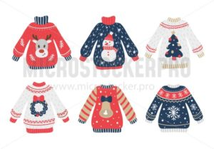 Cozy and ugly knitted sweaters christmas set - Vector illustrations for everyone | Microstocker.Pro
