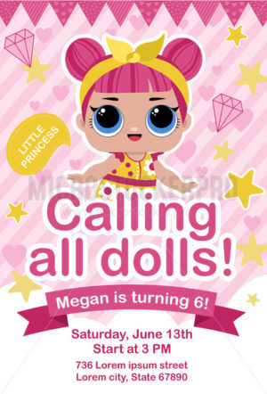 Cute doll party invitation in pink color template - Vector illustrations for everyone | Microstocker.Pro