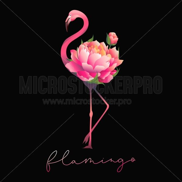 Cute flamingo with floral bouquet print - Vector illustrations for everyone | Microstocker.Pro