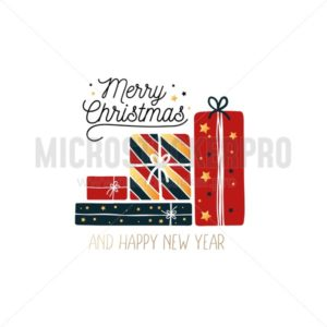Cute merry christmas and happy new year greeting card - Vector illustrations for everyone | Microstocker.Pro