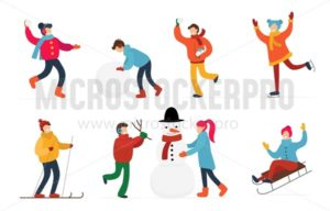 Cute people having fun and doing winter activities set - Vector illustrations for everyone | Microstocker.Pro