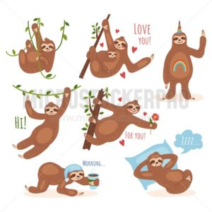Cute sloth character performing different activities set - Vector illustrations for everyone   Microstocker.Pro