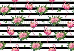 Cute spring floral flamingo seamless pattern - Vector illustrations for everyone | Microstocker.Pro
