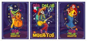 Dia de los muertos cards set - Vector illustrations for everyone | Microstocker.Pro