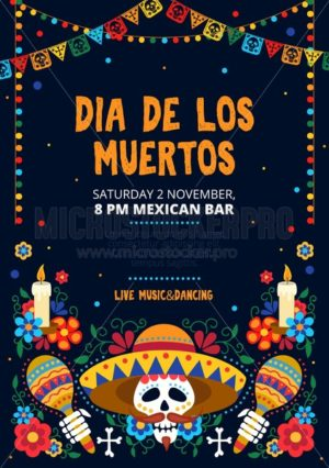 Dia de los muertos festive invitation card design - Vector illustrations for everyone | Microstocker.Pro