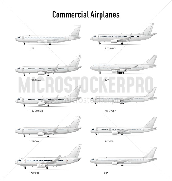 Different aircraft commercial models set - Vector illustrations for everyone | Microstocker.Pro