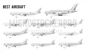 Different kind airplanes commercial models set - Vector illustrations for everyone | Microstocker.Pro