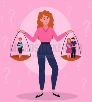 Difficult female choice between career and family - Vector illustrations for everyone | Microstocker.Pro