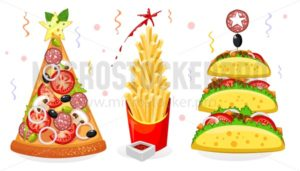 Fast food new year in cartoon style - Vector illustrations for everyone | Microstocker.Pro