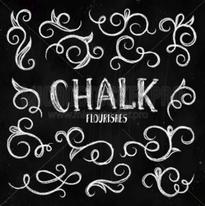 Flourishes collection with swirl lines on chalkboard - Vector illustrations for everyone | Microstocker.Pro