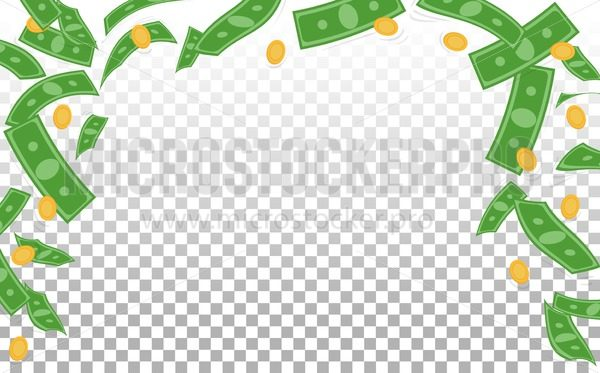 Flying banknotes and golden coins banner - Vector illustrations for everyone | Microstocker.Pro