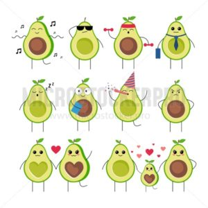Funny avocado characters with different emotions set - Vector illustrations for everyone | Microstocker.Pro