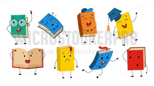 Funny books characters collection with different facial expression - Vector illustrations for everyone | Microstocker.Pro