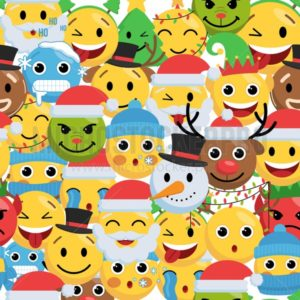 Funny christmas smile faces seamless pattern - Vector illustrations for everyone | Microstocker.Pro