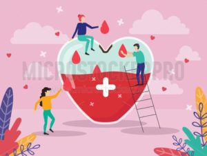 Giant heart medicine design poster - Vector illustrations for everyone | Microstocker.Pro
