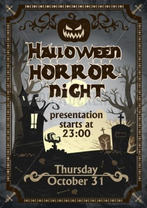 Halloween horror night presentation poster - Vector illustrations for everyone | Microstocker.Pro