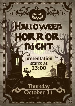 Halloween night horror presentation flyer - Vector illustrations for everyone | Microstocker.Pro