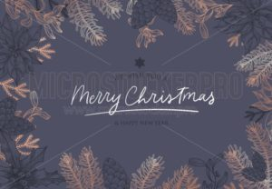 Hand sketched Christmas and New Year greeting card - Vector illustrations for everyone | Microstocker.Pro