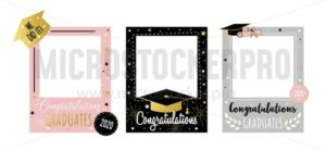 Happy congratulating graduates photo booth set - Vector illustrations for everyone | Microstocker.Pro