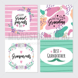 Happy grandparents day greeting cards set - Vector illustrations for everyone | Microstocker.Pro