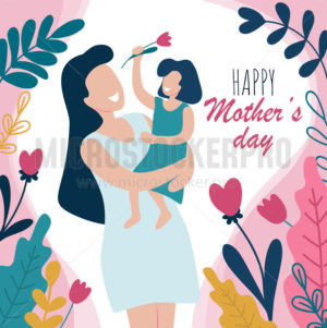Happy mothers day greeting card with flowers - Vector illustrations for everyone | Microstocker.Pro