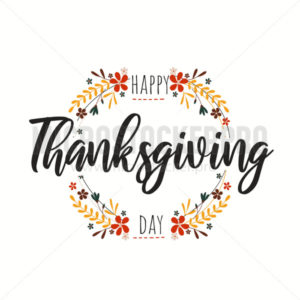 Happy thanksgiving day greeting card with blossom - Vector illustrations for everyone | Microstocker.Pro