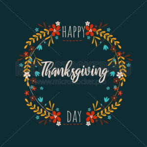 Happy thanksgiving day greeting card with natural decoration - Vector illustrations for everyone | Microstocker.Pro
