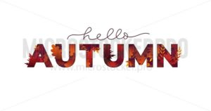 Hello autumn card with lettering and falling foliage - Vector illustrations for everyone | Microstocker.Pro