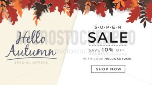Hello autumn joyful and optimistic promo banner - Vector illustrations for everyone | Microstocker.Pro