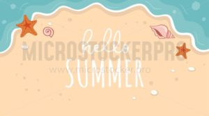 Hello summer banner with golden beach and blue sea - Vector illustrations for everyone | Microstocker.Pro