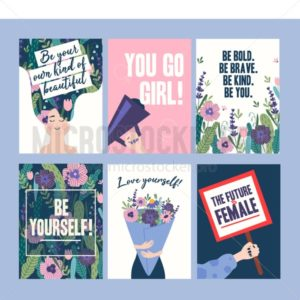 Inspirational cards with woman character and flowers - Vector illustrations for everyone | Microstocker.Pro