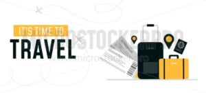 Its time to travel design banner - Vector illustrations for everyone | Microstocker.Pro