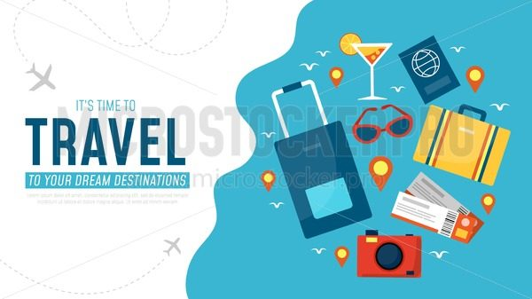 Its time to travel to your dream destination banner - Vector illustrations for everyone   Microstocker.Pro