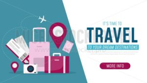 Its time to travel to your dream destinations banner - Vector illustrations for everyone   Microstocker.Pro